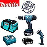 MAKITA BHP453Z 18V LXT Lithium-Ion Combi Hammer Drill (Bare Unit) Plus BML185 14.4/18v Lithium-Ion Fluorescent Light Plus 18V BL1830-2 Batteries & DC18RC/2 Charger with Tool Bag (831278-2)