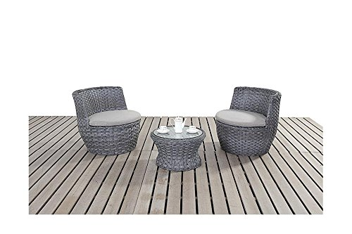Manhattan grau Gartenmöbel Garten Bistro Set, 2 Stühle stapelbar