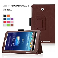 Elsse (TM) Premium Folio Case with Stand for Asus Tablet Case (Asus MeMO Pad 8(ME 180A), Brown)