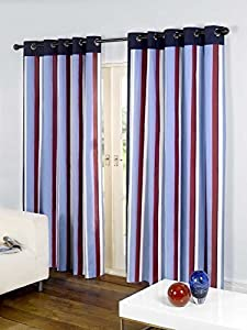 """Striped Cotton Mix Ring Top Lined Red Blue 46"""" X 54"""" Thick Curtains *wotsdap* by Curtains"""