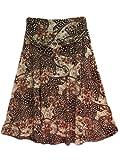 Women's Brown Polkadot Floral Spandex Stretch Skirt