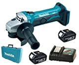 Makita 18V LXT BGA452 BGA452Z BGA452Rfe Angle Grinder, 2 X BL1830 Batteries, DC18RC Charger And Case