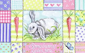 The Kids Room Somebunny Loves You Rectangle Wall Plaque