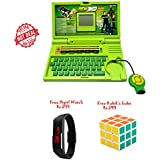 Lets Play ENGLISH LEARNER EDUCATIONAL LAPTOP FOR KIDS(GREEN)+Free Kids Digital Watch Rs.299+Free Rubik's Cube Rs.299