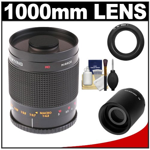 Samyang 500Mm F/8.0 Mirror Lens (T Mount) With 2X Teleconverter (=1000Mm) + Cleaning Kit For Nikon 1 J1, J2 & V1 Digital Cameras