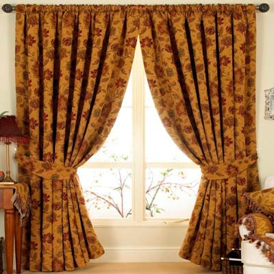 Zurich Pencil Pleat Curtains, Gold, 90 x 90 Inch