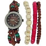 Kahuna Ladies Brown String Bead Bracelet Watch Toggle Pull Closure AKLF-00011L