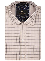 Warewell Men's Slim Fit Pure Cotton Fawn Shirt