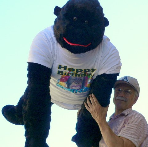 BIG BIRTHDAY FUN - VERY LARGE STUFFED GORILLA WEARING HAPPY BIRTHDAY TSHIRT - MRE THAN 3-FEET-TALL, 3-FEET-WIDE, AND 3-FEET-DEEP - ENORMOUS GIANT STUFFED ANIMAL APE GORILLA PRIMATE - AMERICAN MADE IN THE USA AMERICA