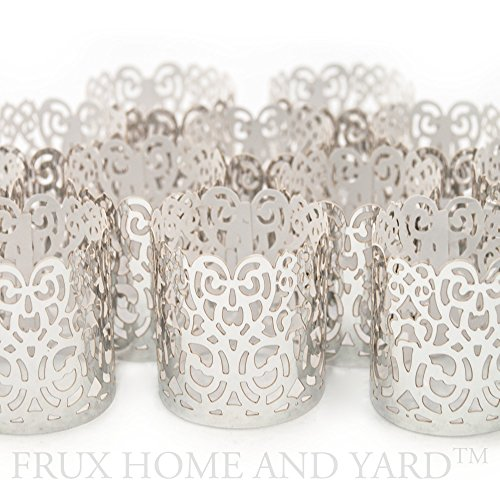 FLAMELESS TEA LIGHT VOTIVE WRAPS- 48 Silver colored laser cut decorative wraps for Frux Home and Yard Flickering LED Battery Tealight Candles