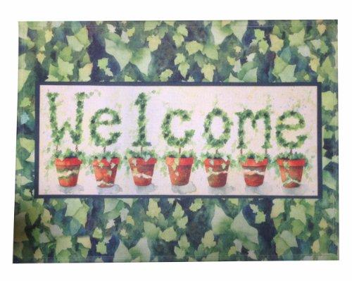 Shabby Chic Retro Vintage Green Leaf Welcome Door Mat Floor Rug Decor front-553923