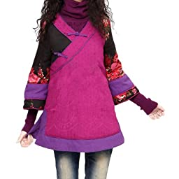 Artka Women\'s Fragrant Contrasting Color Blocks Winter Cotton Jacket,VioletRed,L