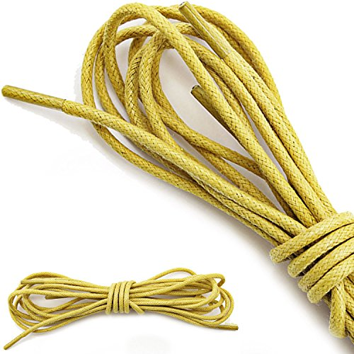 DailyShoes Round Waxed Shoelaces Oxford Flat Dress Canvas Shoe Laces (Great for Sport Shoes), Yellow