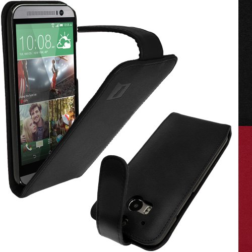 Igadgitz Black Genuine Leather Flip Case For Htc One M8 2014 With Sleep/Wake + Screen Protector