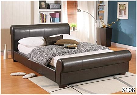 "NEW 4ft 6"" FAUX DOUBLE BROWN LEATHER SCROLL SLEIGH BED FRAME AND SLUMBER SLEEP VENUS SPRUNG MATTRESS"