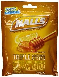 halls triple soothing action cough drops honey lemon 16 drop pouch pack of 12. Black Bedroom Furniture Sets. Home Design Ideas