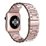 Simpeak iWatch Band 38mm Stainless Steel Replacement Strap for Apple Watch - Rose Gold