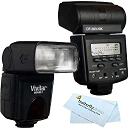 Vivitar DF-383 DEDICATED ETTL LCD Flash with LCD Display Includes Flash Diffuser For Nikon DSLR Cameras Cleaning Kit MicroFiber Cleaning Cloth