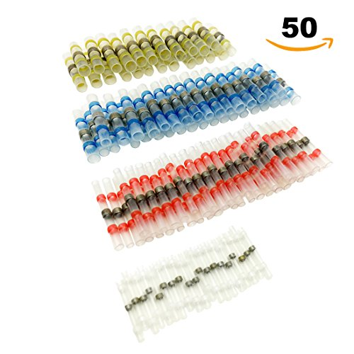 50pcs Solder Seal Wire Connector, Sopoby Solder Seal Heat Shrink Butt Connectors Terminals Electrical Copper(22Red 13Blue 10White 5Yellow)