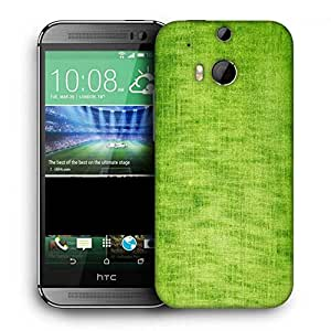 Snoogg Green Fabric Texture Printed Protective Phone Back Case Cover For HTC One M8