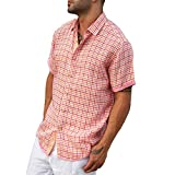 Plaid party lined Red short sleeve linen shirt.