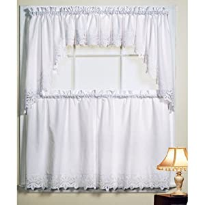 Battenburg White Kitchen Curtains Swags White Window Treatment Valances
