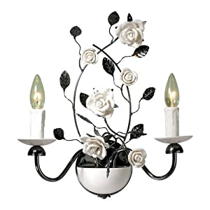 Laura Ashley WCT022 Chantilly 2-Light Wall Light, Gun Metal