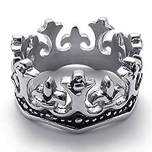 buy Bishilin Stainless Steel Fashion Men'S Rings Silver Black Crown Retro Us 9