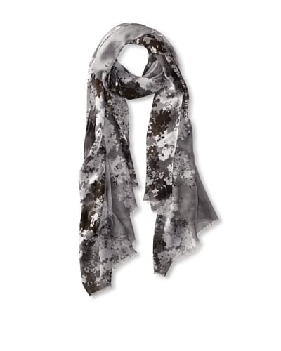 Tahari Women's Floral Edge Scarf, Grey