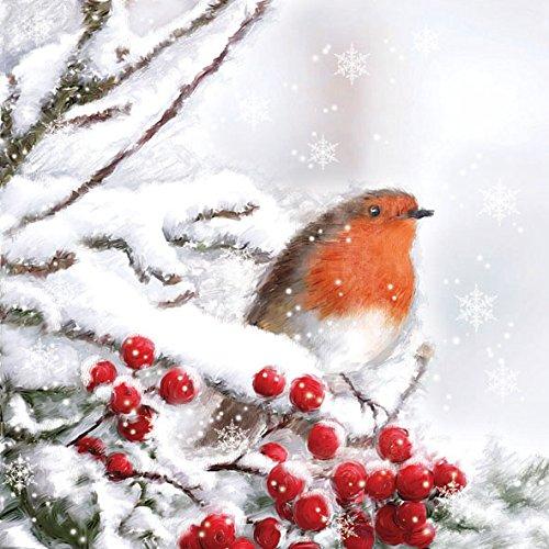 20-serviettes-33-x-33-cm-oiseau-en-hiver-x-mas-noel-baies-rouge-gorge-foret-de-neige-robin