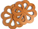 Set of 2 Natural Bamboo Table Coasters for Keeping Tableware - Design: Round Flower, Size: 13.5 x 13.5 cm