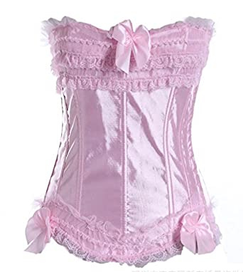 Jusian Women's Push Up Boned Corset Bustier Lingerie with G-string Pink Size S