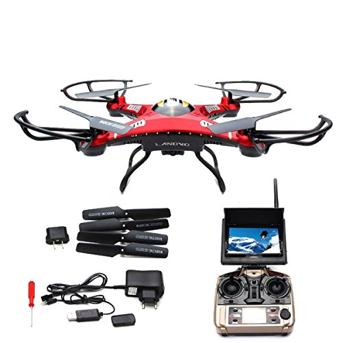 LANDVO-JJRC-H8D-FPV-Headless-Mode-6-Axis-24Ghz-Gyro-RTF-RC-Quadcopter-Drone-with-58G-2MP-HD-Camera-and-Screen-on-Remote-Red-with-LANDVO-Logo