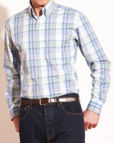 Savile Row Mens Blue Mint Bold Check Button Down Casual Shirt Collar SizeXX-Large Single Cuff