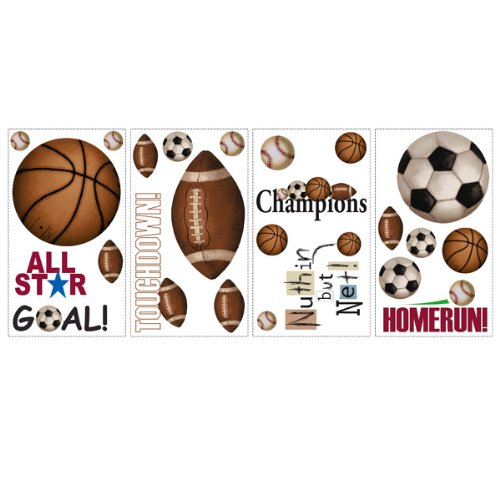 RoomMates RMK1001SCS Play Ball Peel and Stick Wall Decals