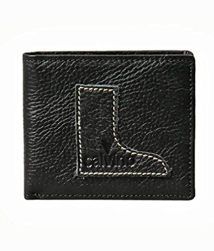 Calvino Calvino Contrast Stitch Boot Black Men's Wallet