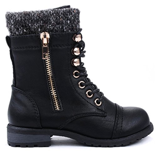 JJF Shoes Mango-31 Kids Black Round Toe Military Lace Up Knit Ankle Cuff Low Heel Combat Boots-13