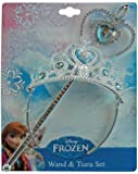 Disney Frozen Crown Tiara and Wand Set - Silver with Blue Elsa and Anna Heart Jewel