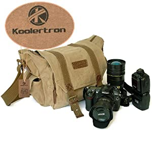 Koolertron Canvas DSLR SLR Camera Shoulder Bag Backpack Rucksack Bag For Sony Canon Nikon Olympus