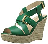 Nine West Womens Jentri Synthetic Wedge Sandal, Green/Green, 8 M US