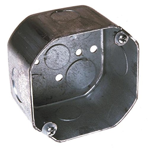Steel City 54171-1/2&3/4 Outlet Box, Octagon, Drawn Construction, 4-Inch Diameter By 2-1/8-Inch Depth, Galvanized; 25 Standard Package