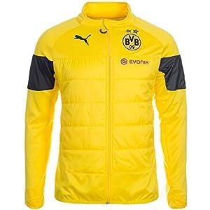 PUMA Herren Jacke BVB Padded Training Top with Sponsor, Cyber Yellow-Black-Ebony, M, 745846 01