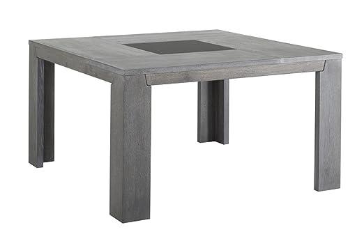 Table de repas carrée coloris Chêne gris, H 77 x L 140 x P 140 cm -PEGANE-