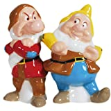 Westland Giftware Magnetic Ceramic Disney Snow White Grumpy and Happy Salt and Pepper Shaker Set, 3.75-Inch