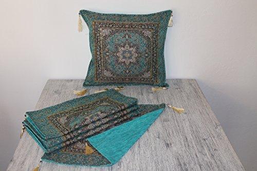 Züleyha Kissen Kissenbezug Kissenhülle Sitzkissen cushion cover orientalisch osmanisch (Türkis 072-set, 45 x 45 cm)