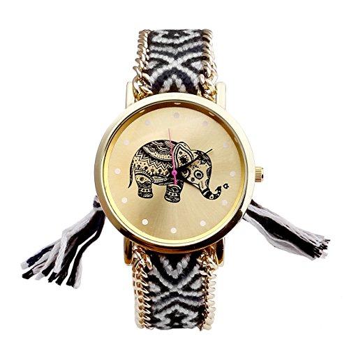 jsdde-uhren-damen-ethnisch-elefant-muster-gestrickt-gewebte-seil-band-armbanduhr-quarzuhr-schwarz-we