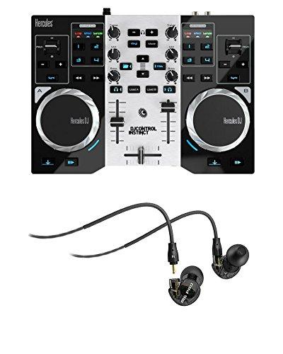 Hercules DJControl Instinct S Series USB DJ Controller w/ 2 Audio Outputs and M6 Pro Mee Audio Earbud Headphones (Hercules Instinct Dj Controller compare prices)