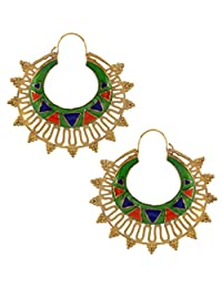 The Jewelbox Green Meena Large Antique Gold Plated Chaand Bali Earring For Women