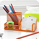 Viproo® 3 Compartments Mesh Collection Pen Holder Pencil Container Desk Organizer Office Supply Caddy (Orange)