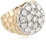 Mens 10k Two-Tone Gold with Nugget Side Accent Diamond Cluster Ring (3.00 cttw, H-I Color, I1-I2 Clarity)